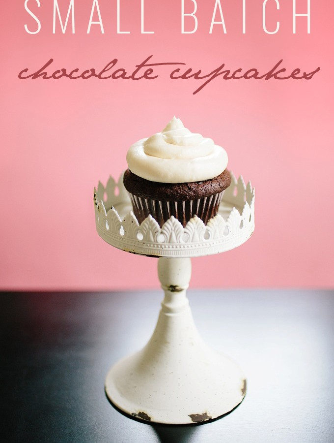 Small Batch Chocolate Cupcakes with Vanilla Buttercream Frosting