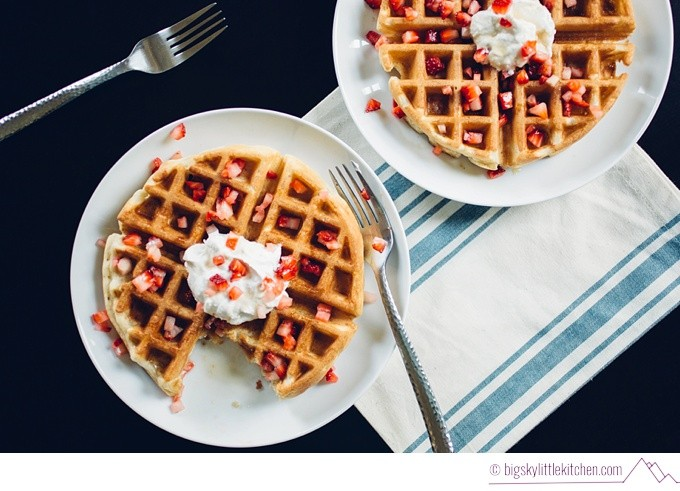 Waffles with Coconut Whipped Cream and Strawberries - Big Sky Little Kitchen