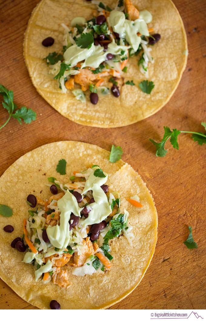 Chipotle Spice Chicken Tacos with Cilantro Slaw and Avocado Cream - Big Sky Little Kitchen