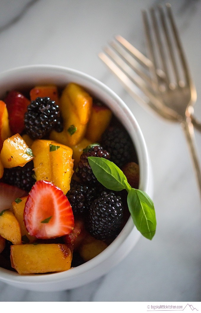 Peach Blackberry and Strawberry Fruit Salad with Basil and Lime - Big Sky Little Kitchen